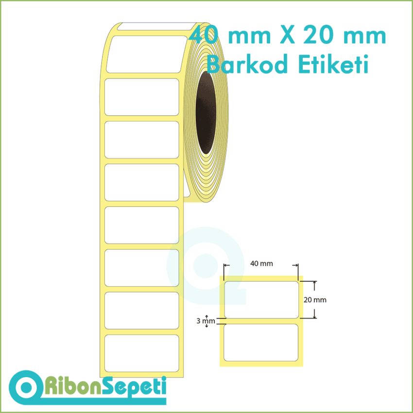 40x20 mm Boş (Beyaz) Etiket