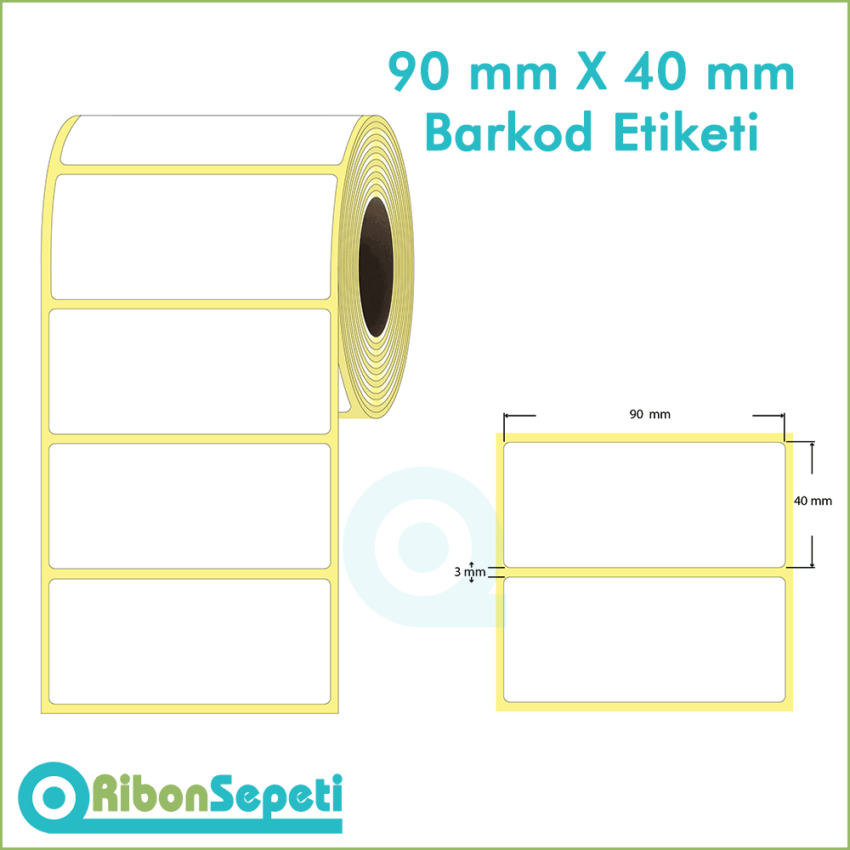 90x40 mm Boş (Beyaz) Etiket
