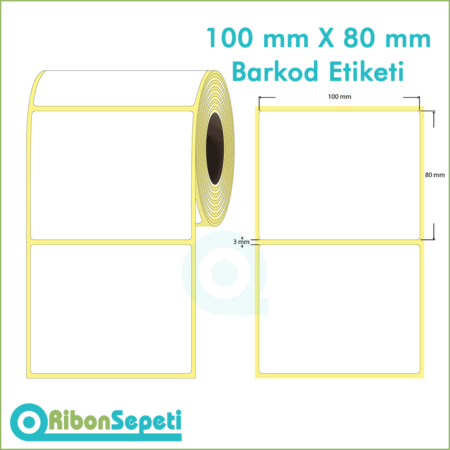 100x80 mm Boş (Beyaz) Etiket
