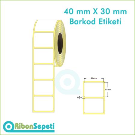40x30 mm Boş (Beyaz) Etiket