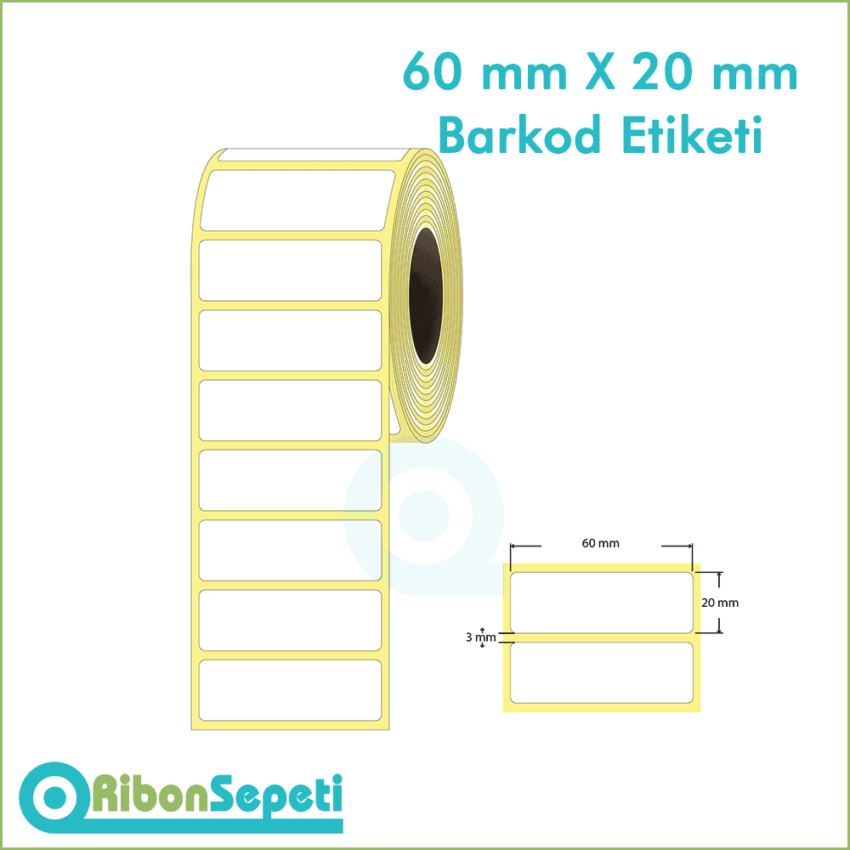 60x20 mm Boş (Beyaz) Etiket