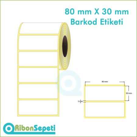 80x30 mm Boş (Beyaz) Etiket