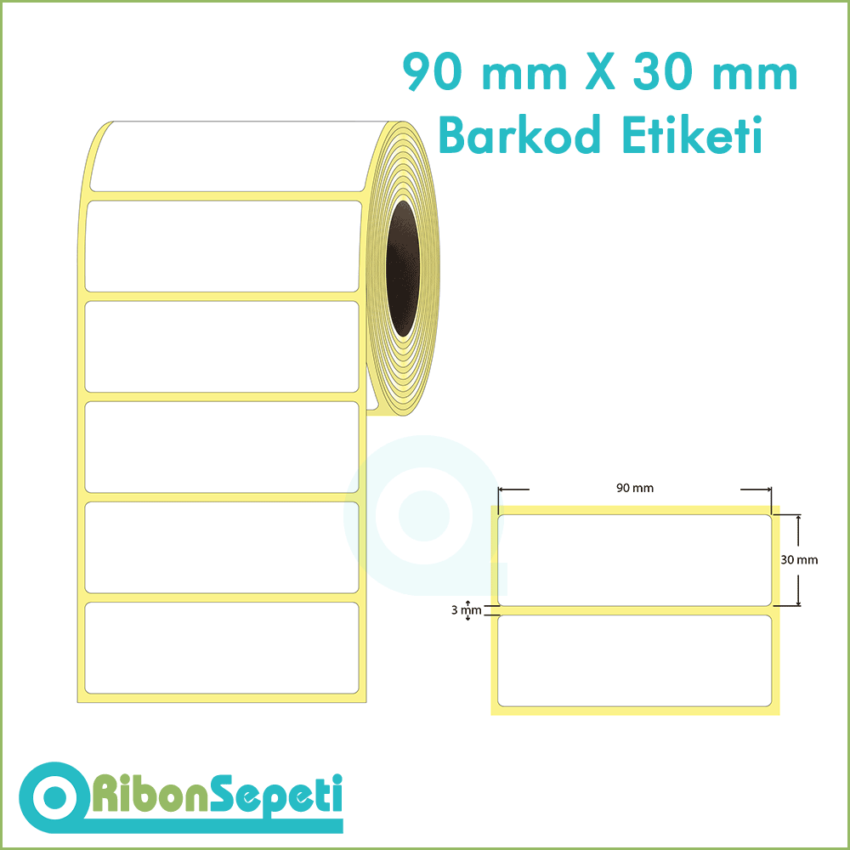 90x30 mm Boş (Beyaz) Etiket
