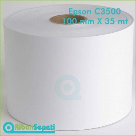 Epson C3500 Barkod Etiketi 100 mm 35 mt Kuşe, PP Opak ve Şeffaf, Tam Parlak, Mat Vb..
