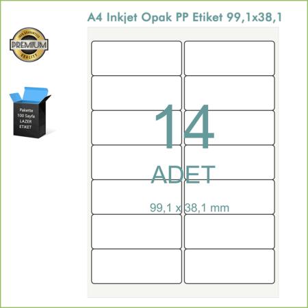99,1x 38,1 Ölçülerinde, A4 Tabaka (Sayfa) Inkjet Etiket (Opak PP)