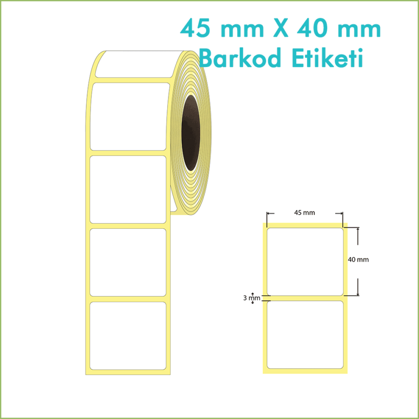 45x40 mm Boş (Beyaz, Hazır Sticker) Etiket