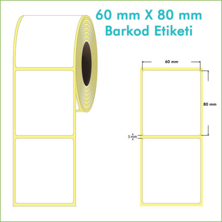 60x80 Yapışkanlı Barkod Etiketi