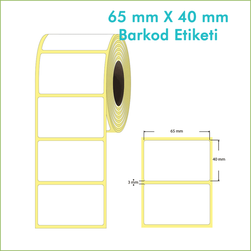 65x40 mm Boş (Beyaz, Hazır Sticker) Etiket