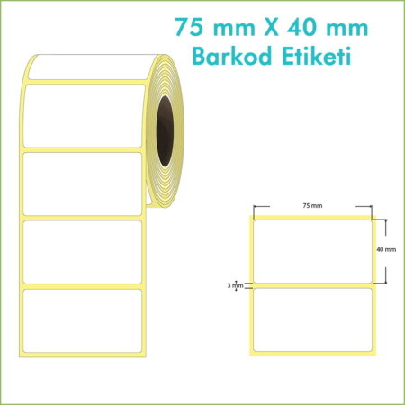 75x40 mm Boş (Beyaz, Hazır Sticker) Etiket