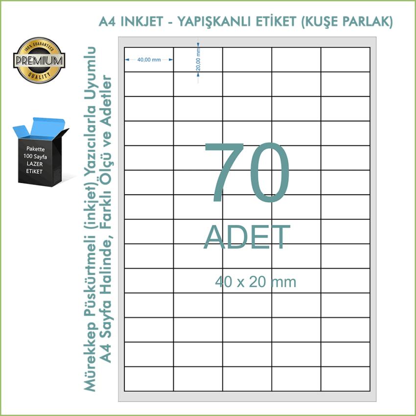 A4 Inkjet Etiket, Parlak Kuşe Yapışkanlı Barkod Etiketi