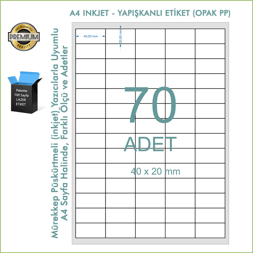 A4 Inkjet Etiket, Opak PP Yapışkanlı Barkod Etiketi