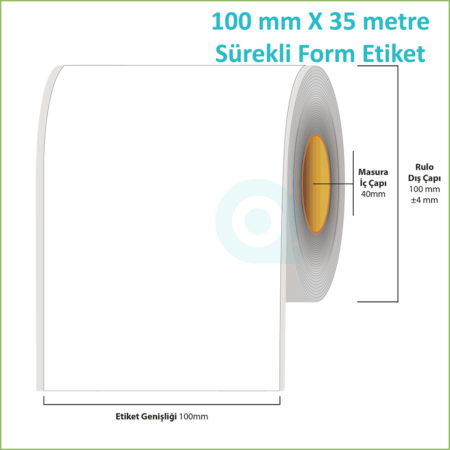 100 mm X 35 metre Sürekli Form (Continuous) Etiket