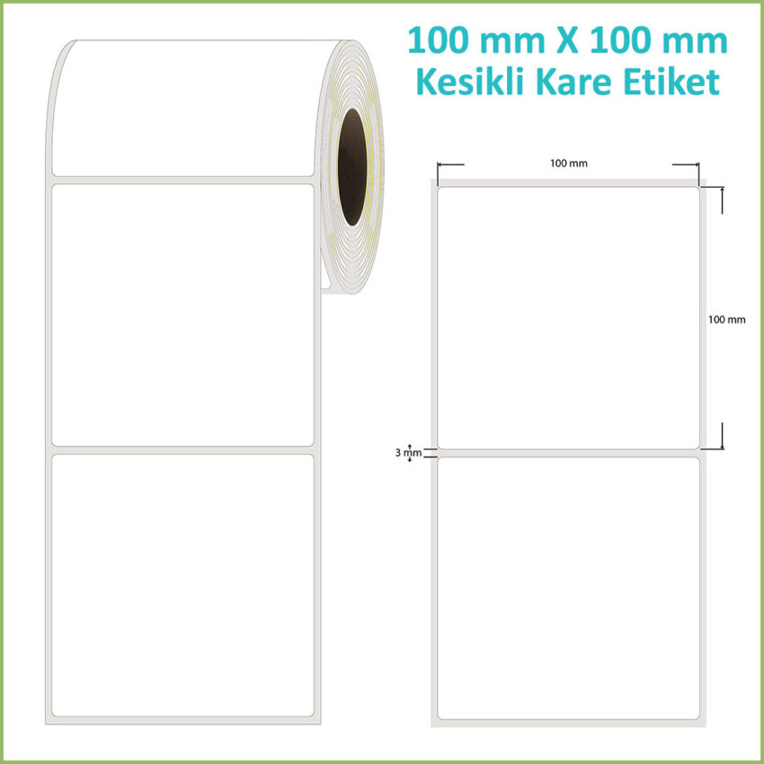 100x100 mm Epson Etiketi (Kesikli, Yapışkanlı, Rulo)